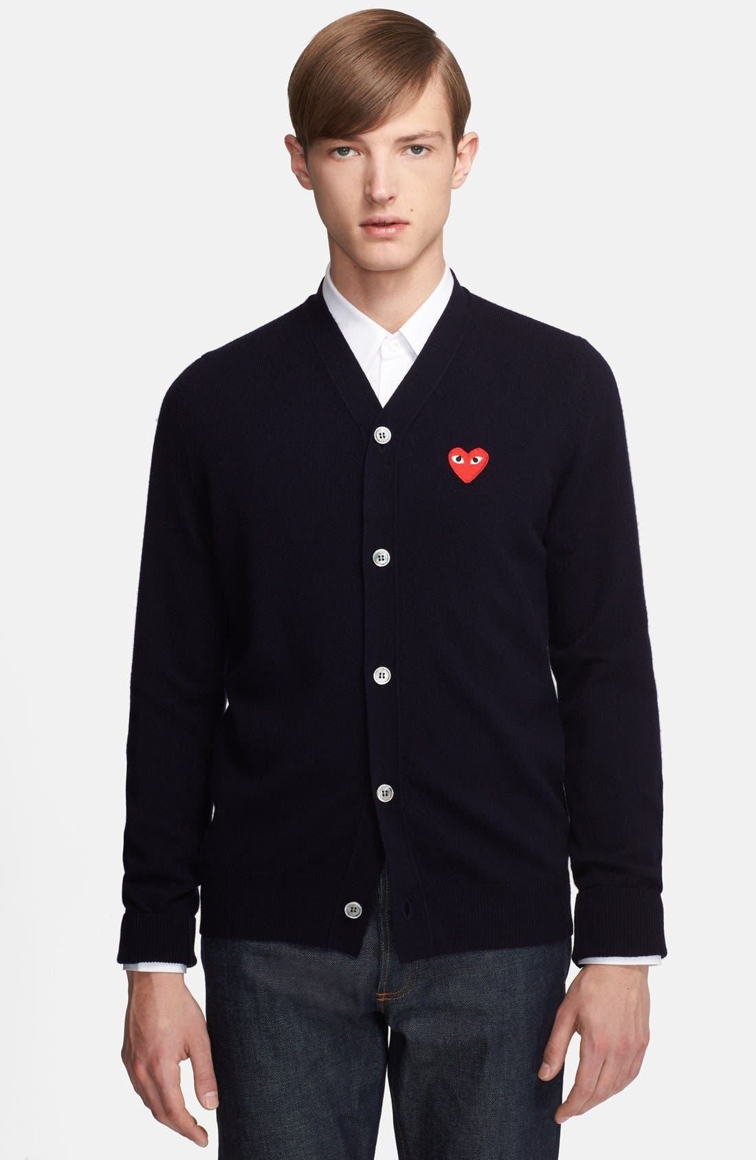Alternate Image 1 Selected - Comme des Garçons PLAY Wool Cardigan with Heart Appliqué