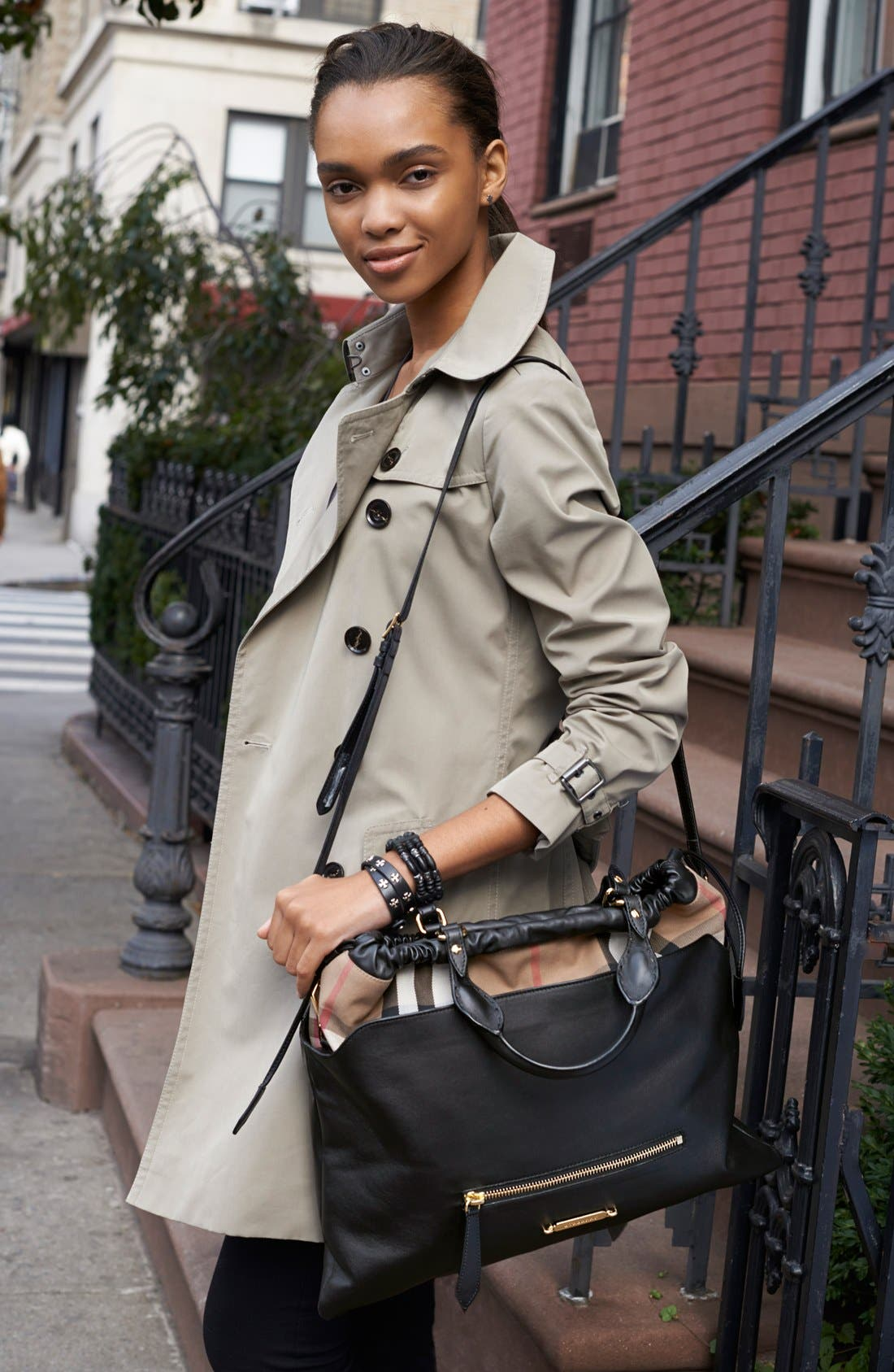 Main Image - Burberry Bag, Burberry London Trench & Burberry Brit Tee, Pants