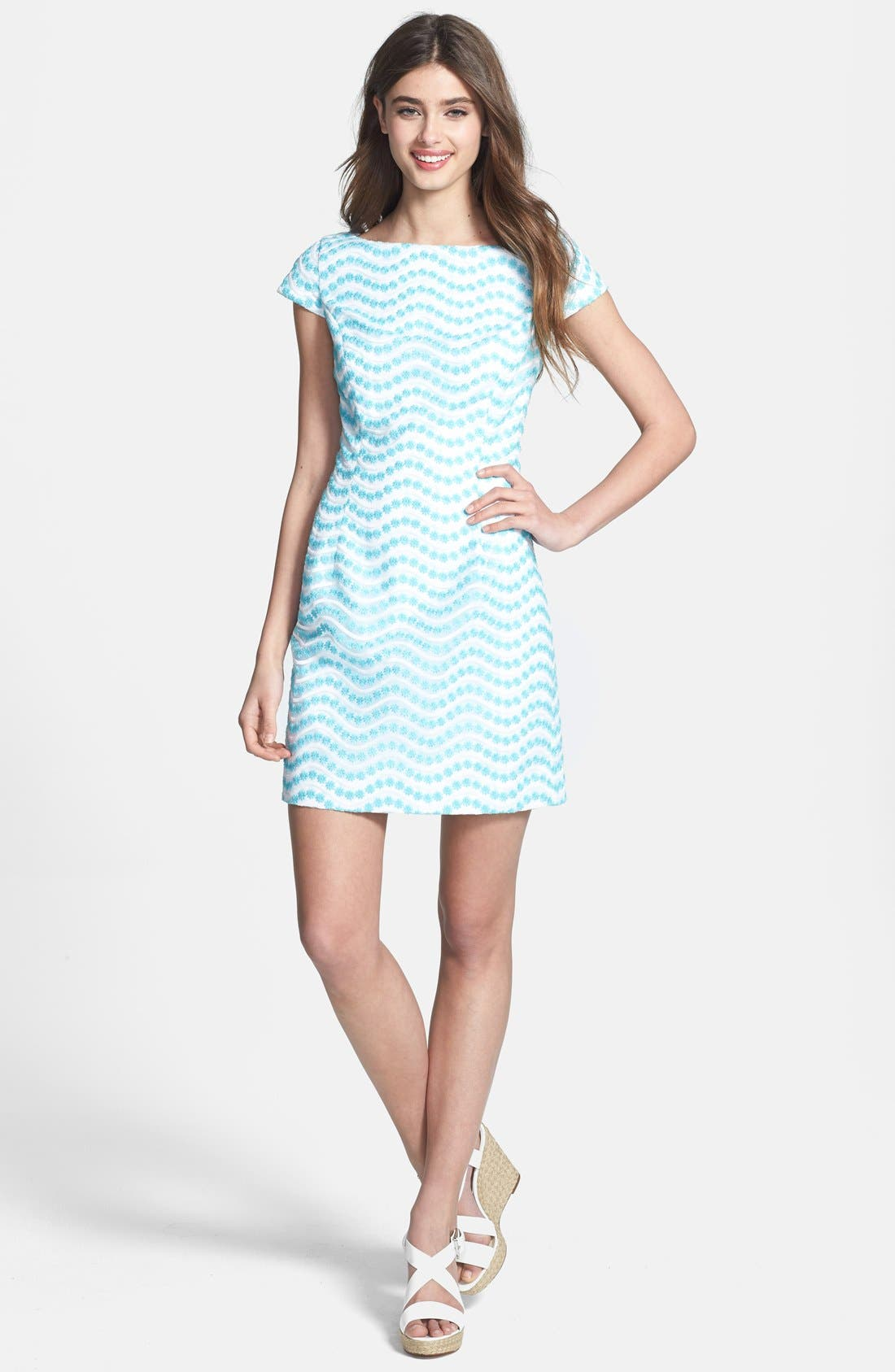Alternate Image 1 Selected - Lilly Pulitzer® 'Piper' Cutout Back Embroidered Organza Shift Dress