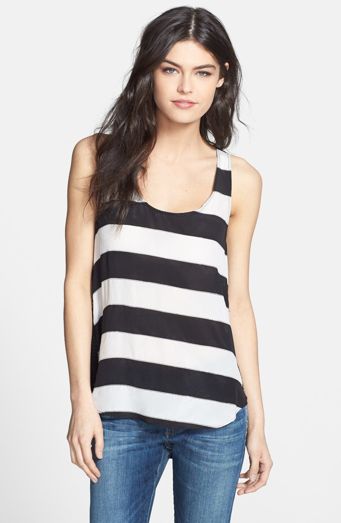 Alternate Image 1 Selected - Ella Moss 'Millia' Stripe Front Mixed Media Tank