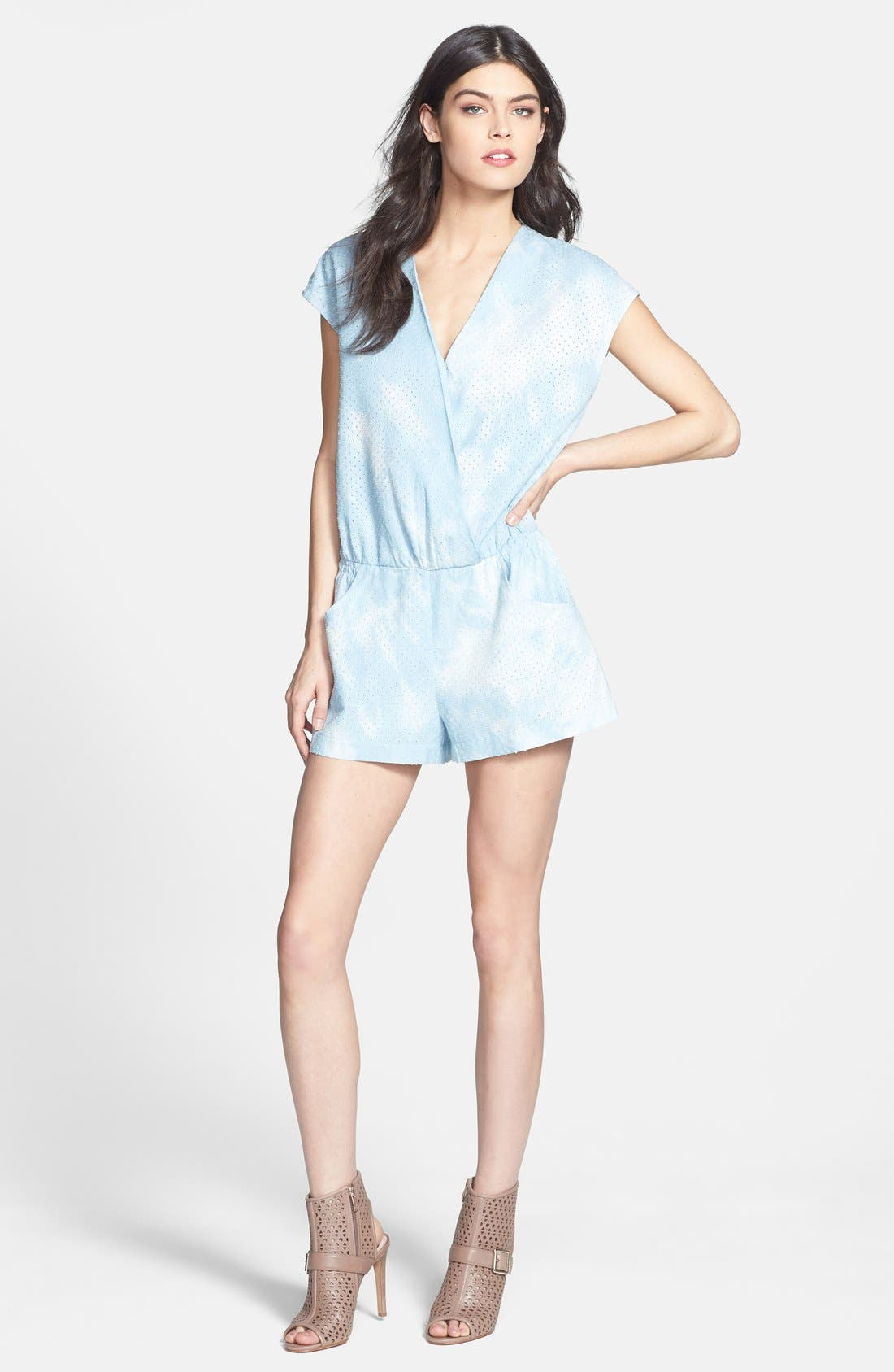 Main Image - Line & Dot Tie Dye Perforated Chambray Romper