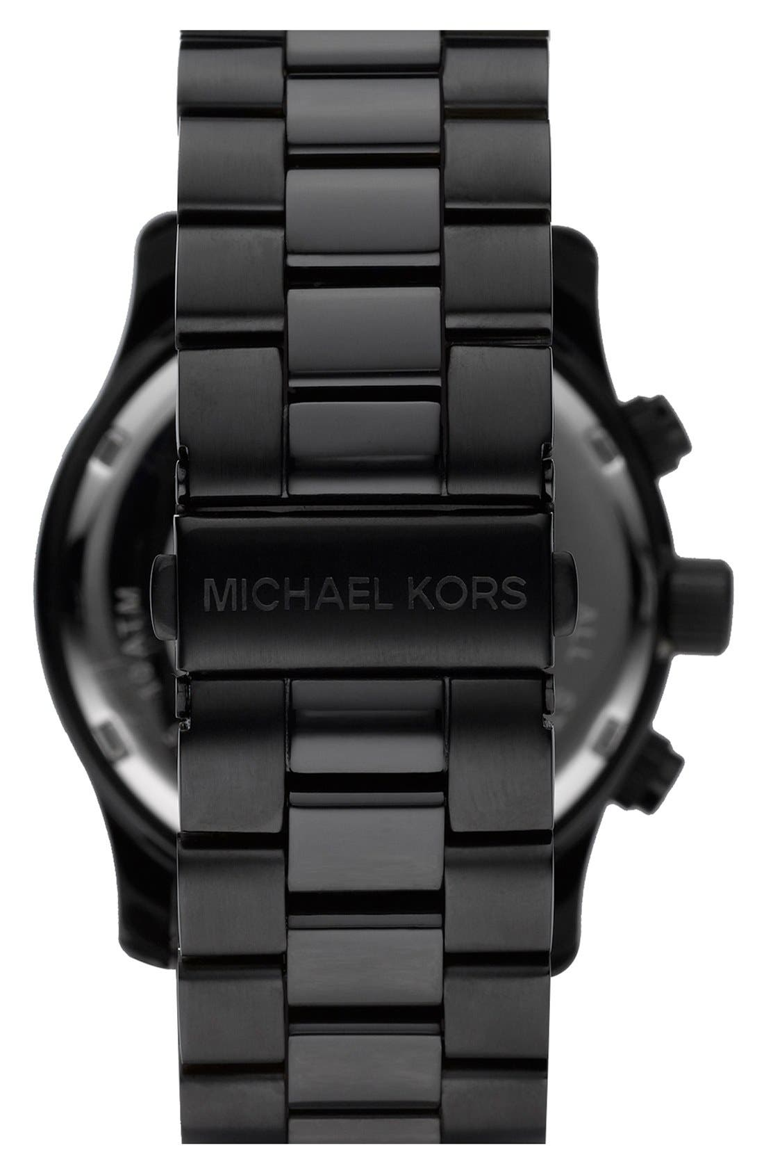 Alternate Image 2  - Michael Kors 'Large Runway' Blacked Out Chronograph Watch, 45mm
