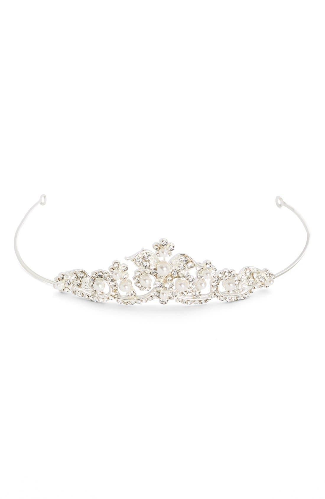 Main Image - Wedding Belles New York Czech Crystal & Faux Pearl Tiara (Girls)