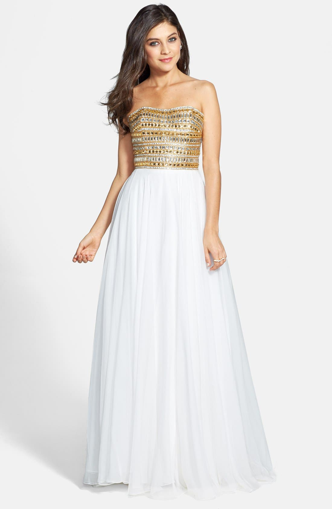 Alternate Image 1 Selected - Sherri Hill Embellished Strapless Chiffon Gown (Online Only)