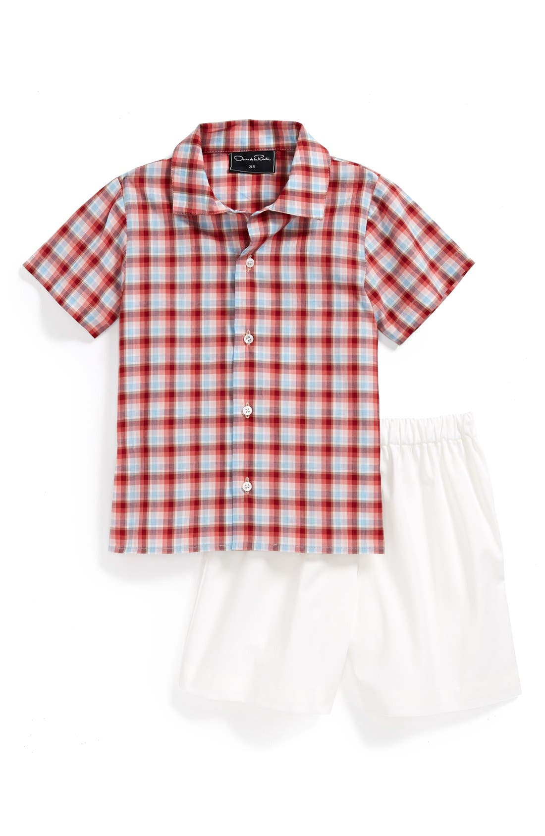Main Image - Oscar de la Renta Woven Shirt and Shorts (Baby Boys)