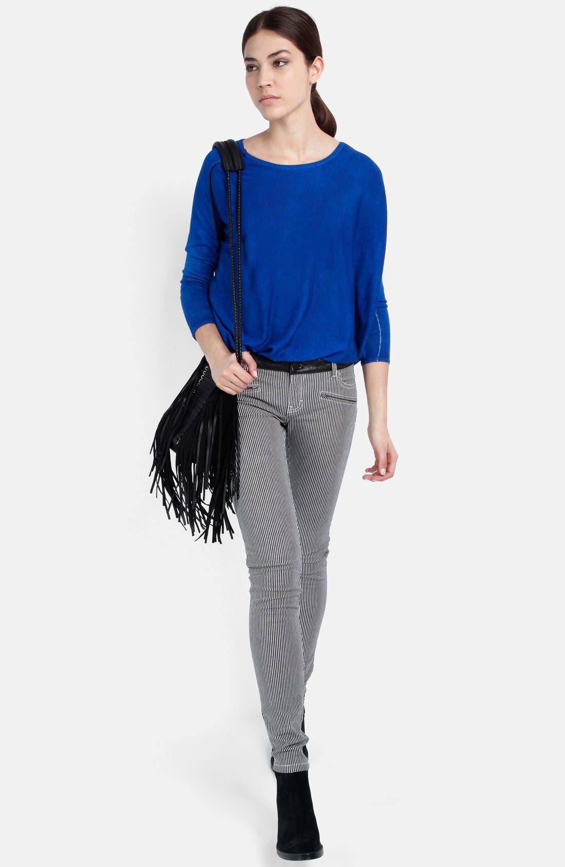 Alternate Image 4  - maje 'Aki' Stripe Stretch Skinny Jeans