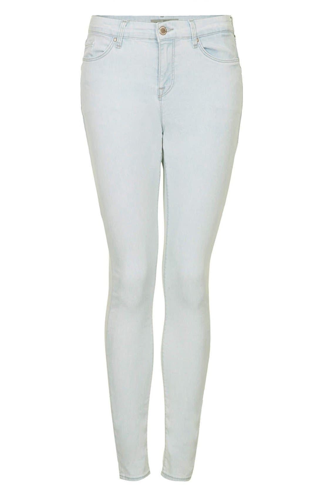 Alternate Image 3  - Topshop Moto 'Leigh' Mid Rise Skinny Jeans (Light Denim)