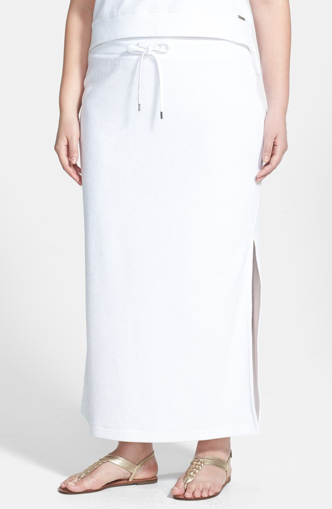 Alternate Image 1 Selected - MICHAEL Michael Kors French Terry Maxi Skirt (Plus Size)