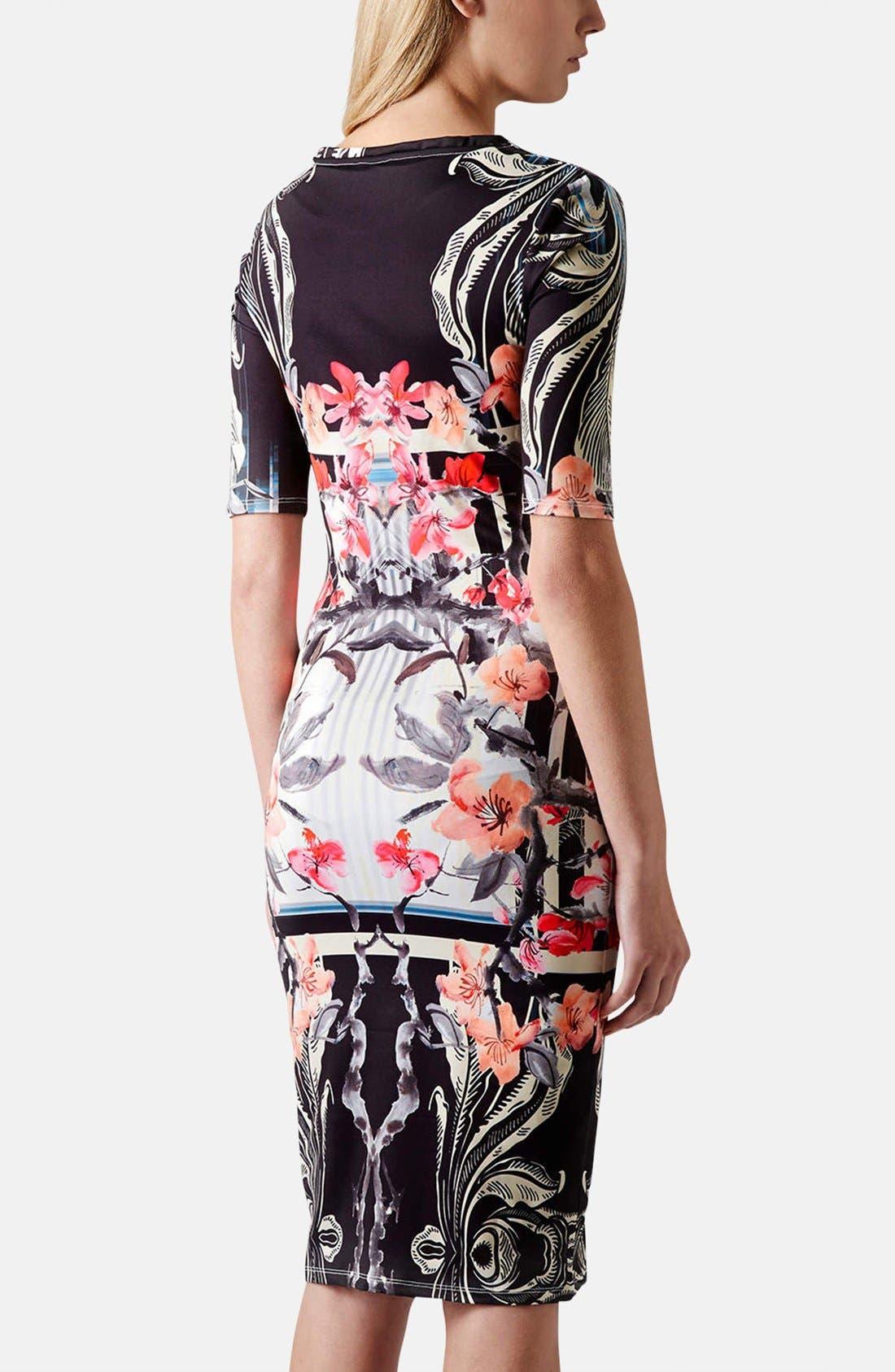 Alternate Image 2  - Topshop 'Orchid Mirror' Print Body-Con Dress
