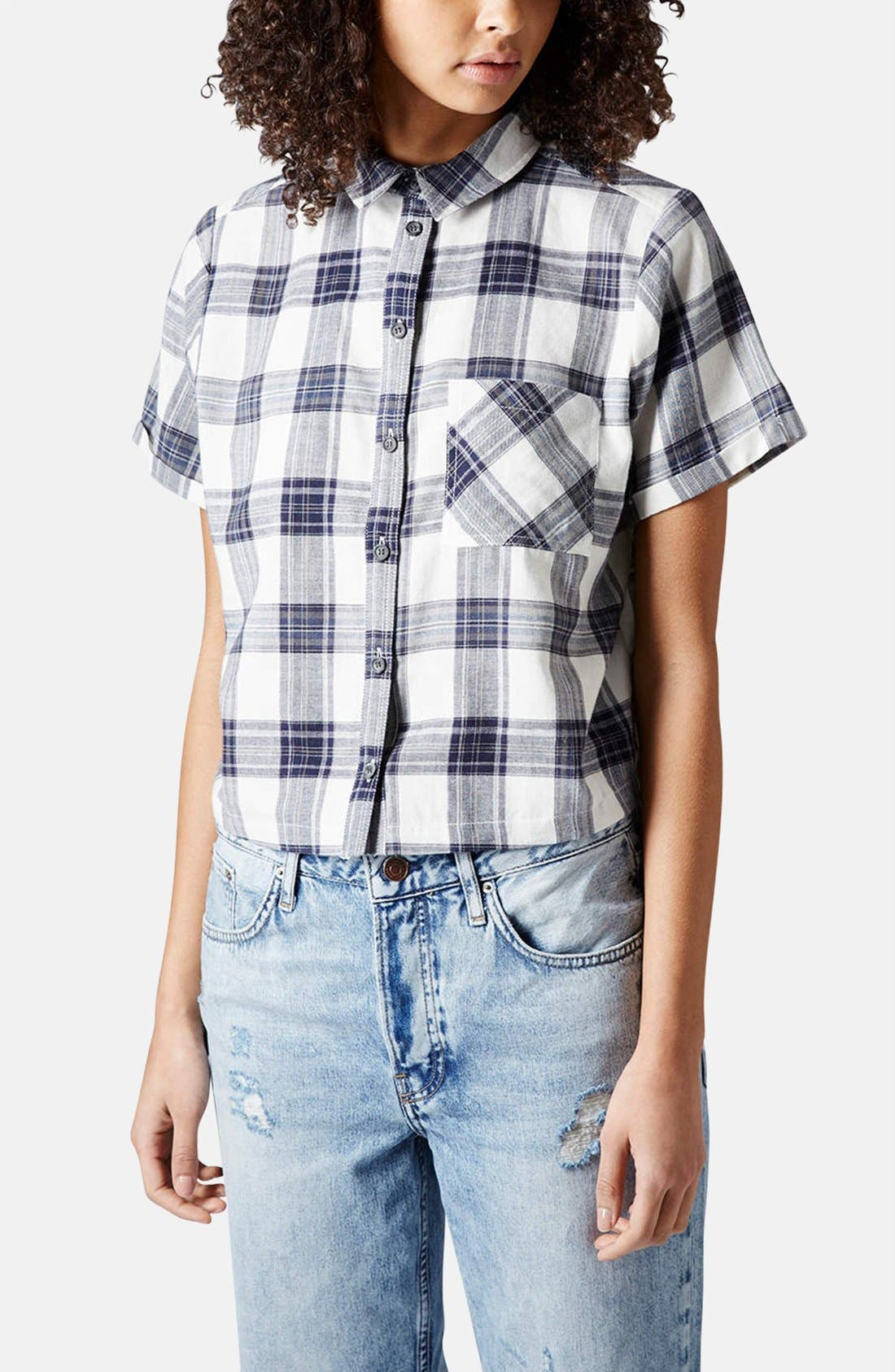 Alternate Image 1 Selected - Topshop 'Emily' Check Print Cotton Shirt