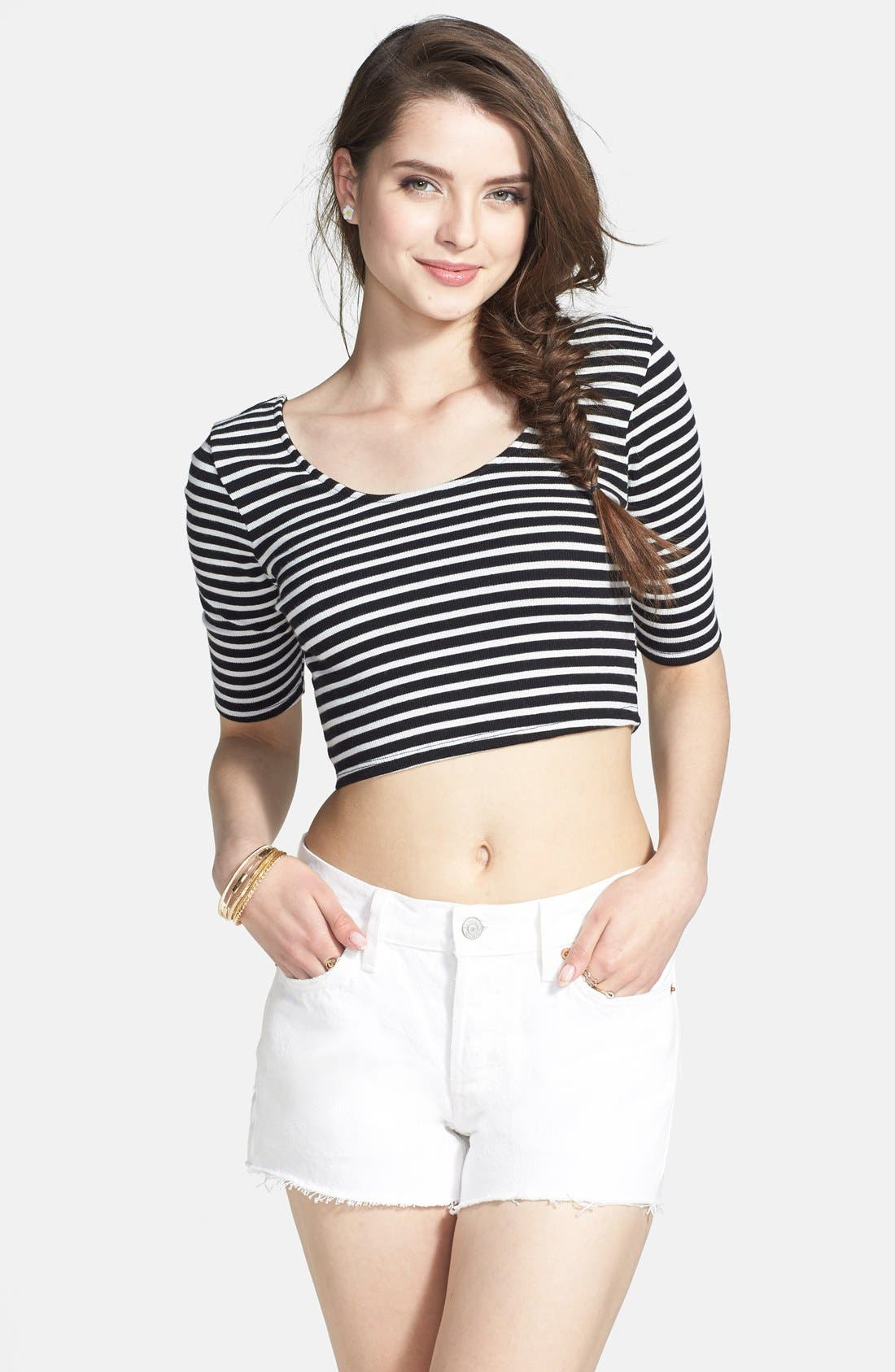 Main Image - Volcom 'Out There' Stripe Crop Top (Juniors)