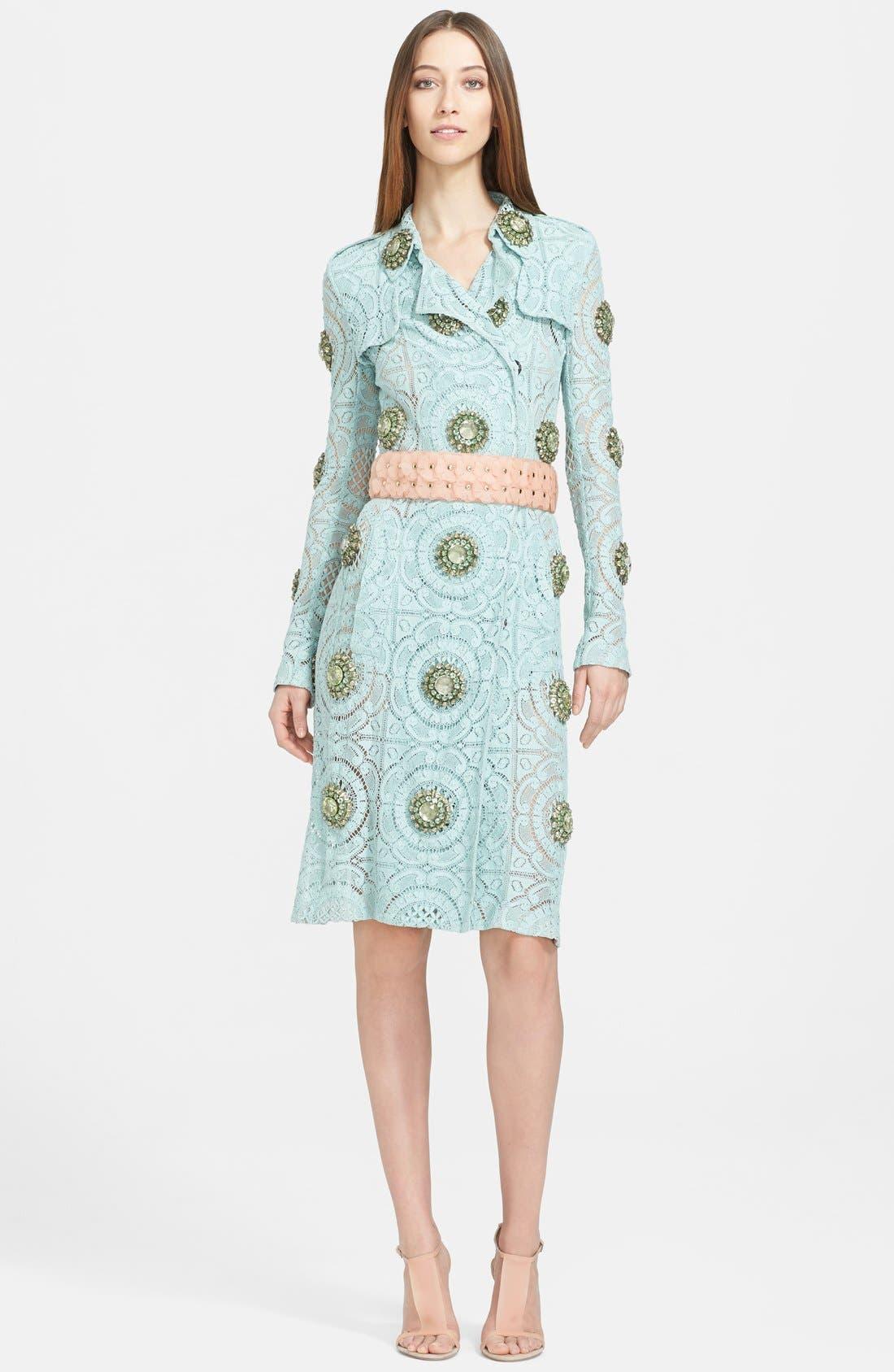 Alternate Image 3  - Burberry Prorsum Embellished English Lace Trench Coat