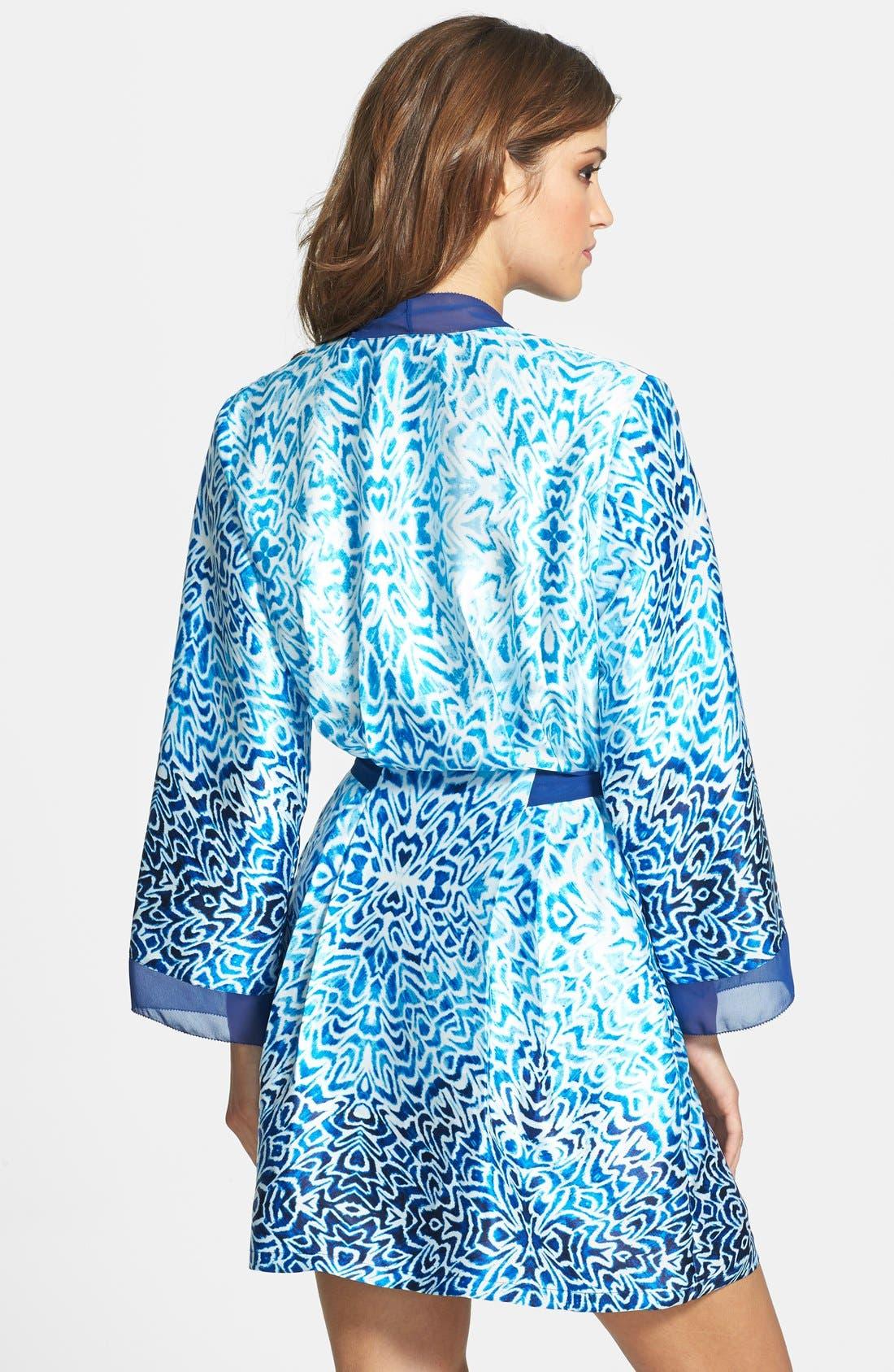 Alternate Image 2  - Oscar de la Renta Sleepwear 'Ocean Breeze' Satin Charmeuse Wrap Robe