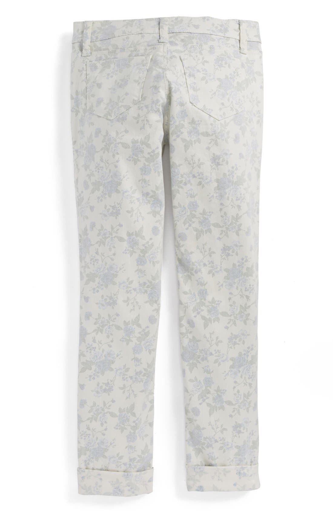 Main Image - Tractr Faded Floral Skinny Jeans (Big Girls)