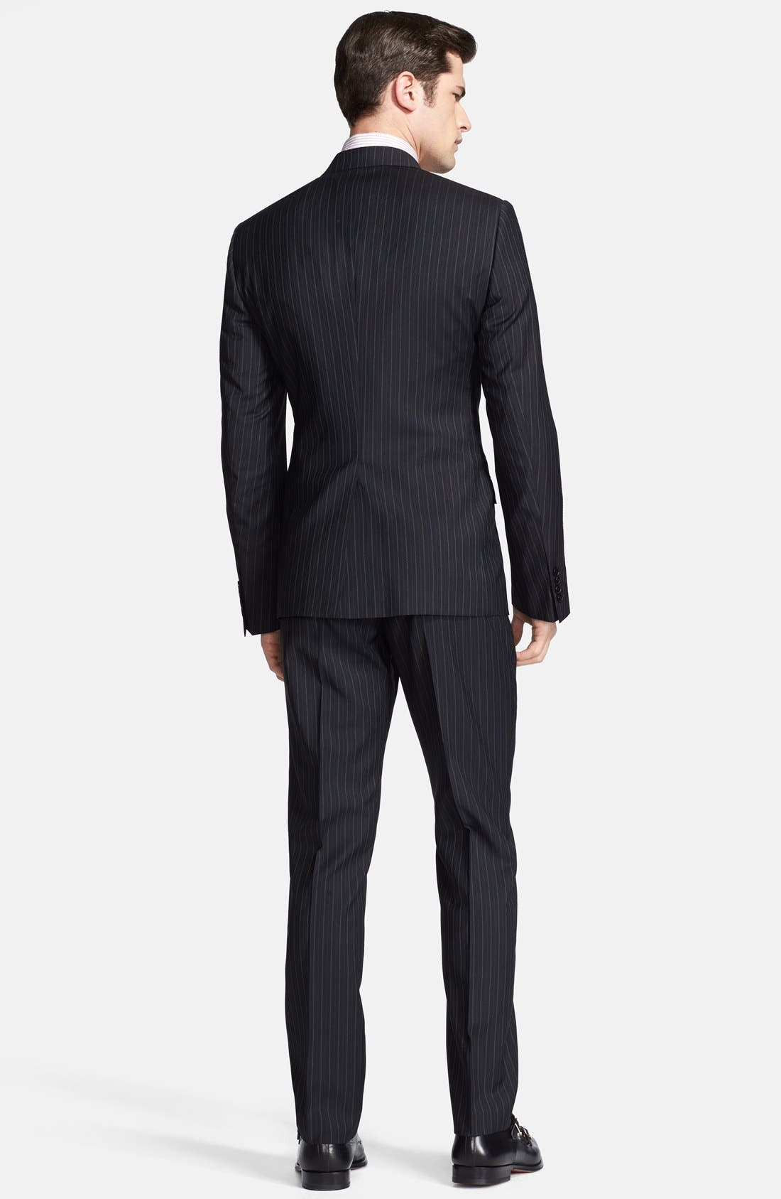 Alternate Image 2  - Dolce&Gabbana 'Martini' Black Stripe Wool Suit