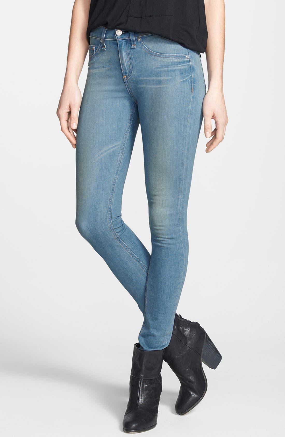 Alternate Image 1 Selected - rag & bone/JEAN High Rise Skinny Jeans (Calvary)