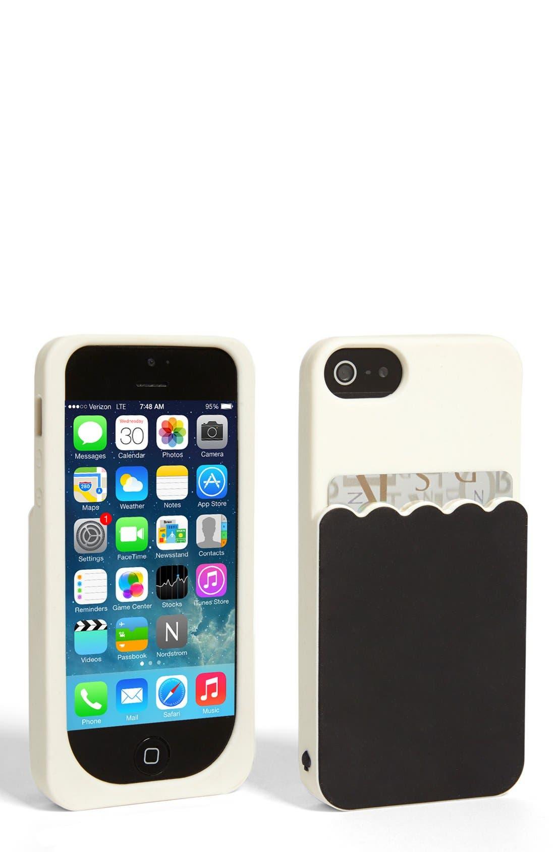 Alternate Image 1 Selected - kate spade new york 'scallop pocket' card holder iPhone 5 & 5s case