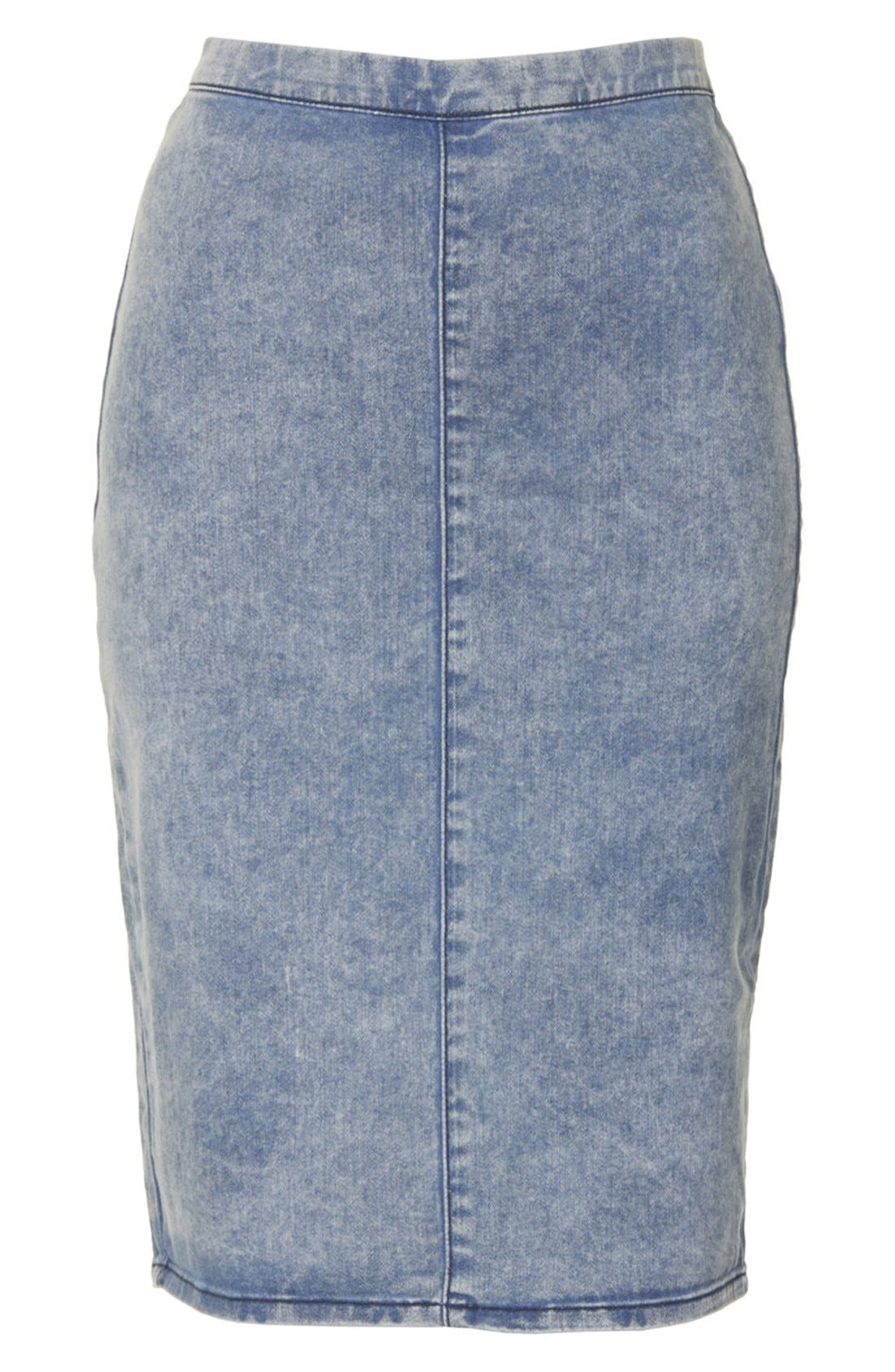 Alternate Image 3  - Topshop Moto Acid Wash Denim Pencil Skirt