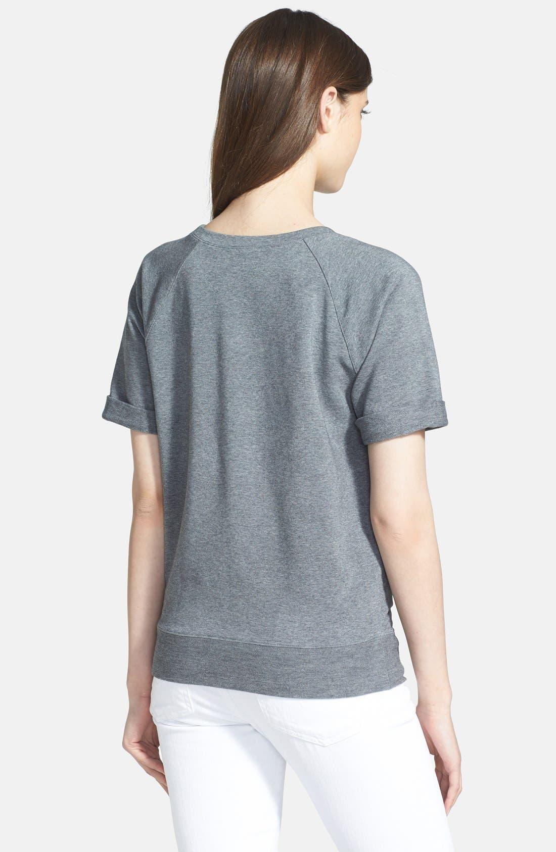 Alternate Image 2  - Halogen® Short Sleeve Sweatshirt (Regular & Petite)