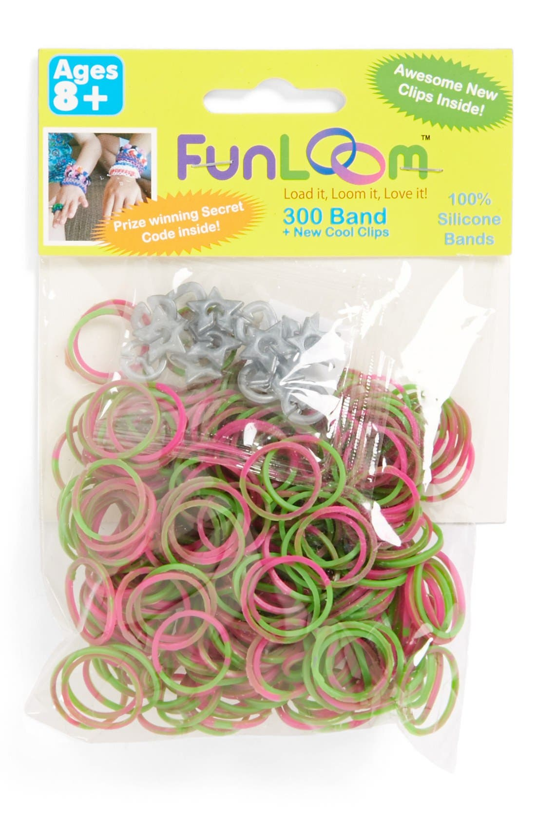 Alternate Image 1 Selected - FunLoom Pink & Green Swirl Silicone Bands (300-Pack)