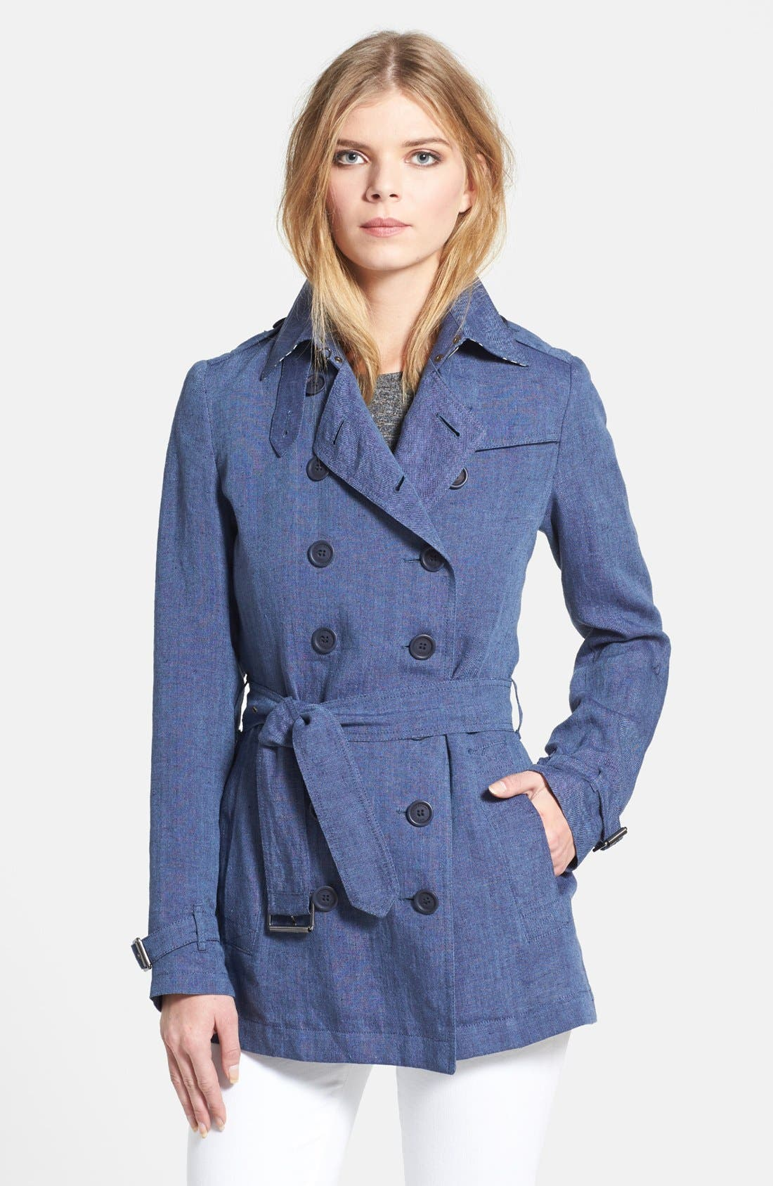 Alternate Image 1 Selected - Burberry Brit 'Crombridge' Double Breasted Linen Trench