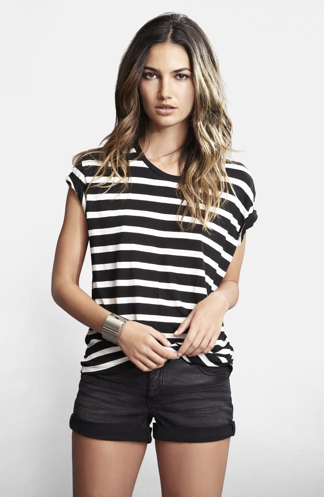 Alternate Image 4  - Lily Aldridge for Velvet by Graham & Spencer Stripe Tee