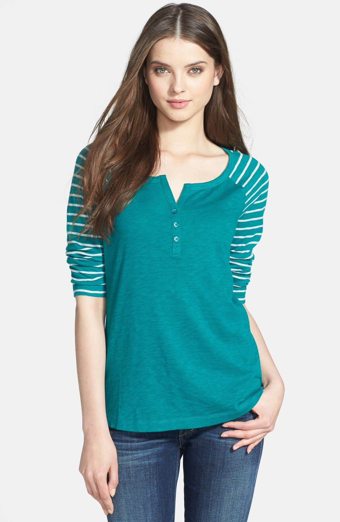 Main Image - Caslon® Stripe Sleeve Cotton Henley Tee