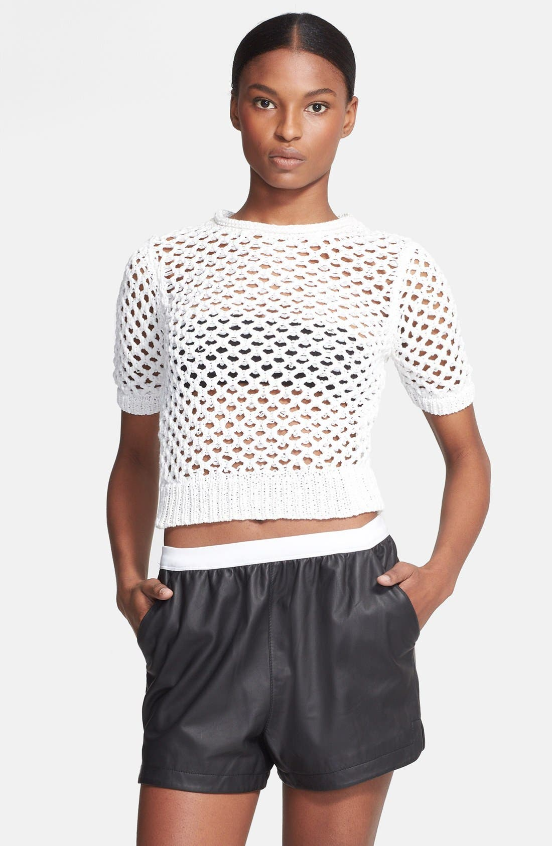 Alternate Image 1 Selected - T by Alexander Wang Open Knit Pullover