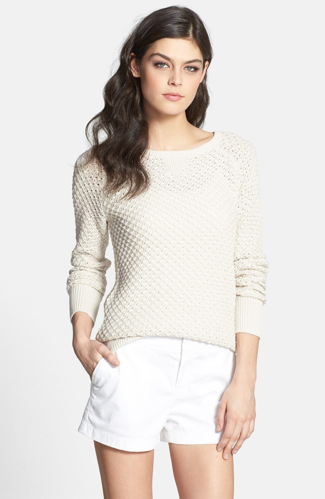 Main Image - Caslon® Tuck Stitch Crewneck Sweater