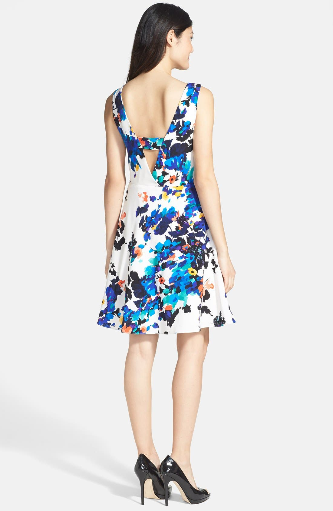 Alternate Image 2  - Betsey Johnson Floral Print Fit & Flare Dress