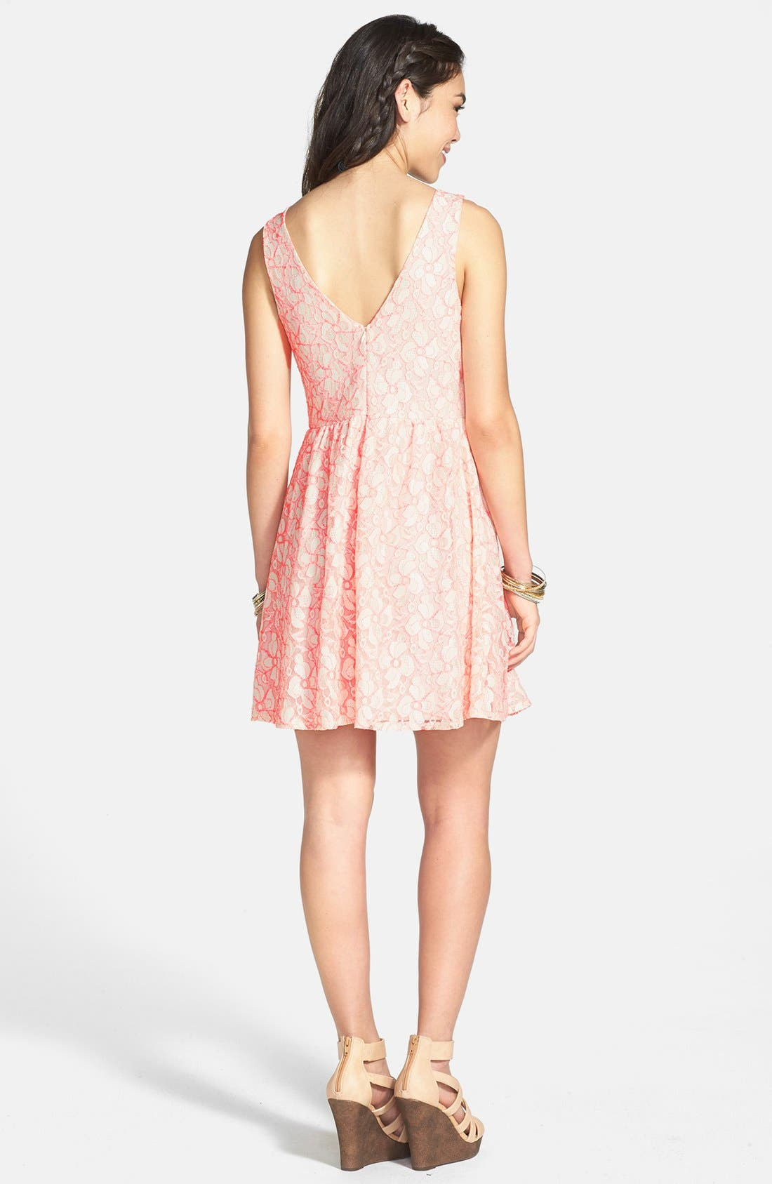 Alternate Image 2  - Lush V-Back Lace Skater Dress (Juniors) (Online Only)