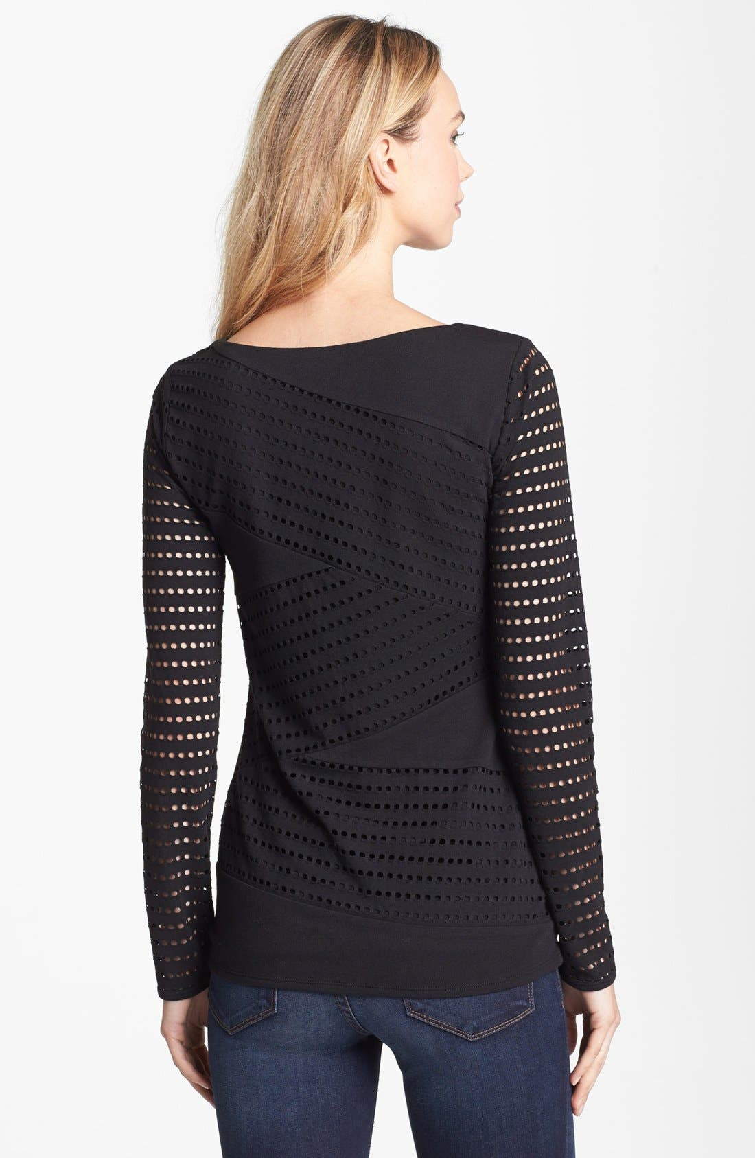 Alternate Image 2  - Vince Camuto Perforated Zigzag Top (Petite)