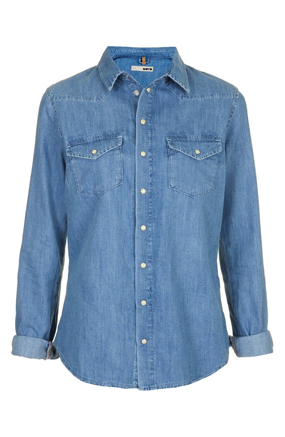 Alternate Image 3  - Topshop Moto Fitted Western Denim Shirt