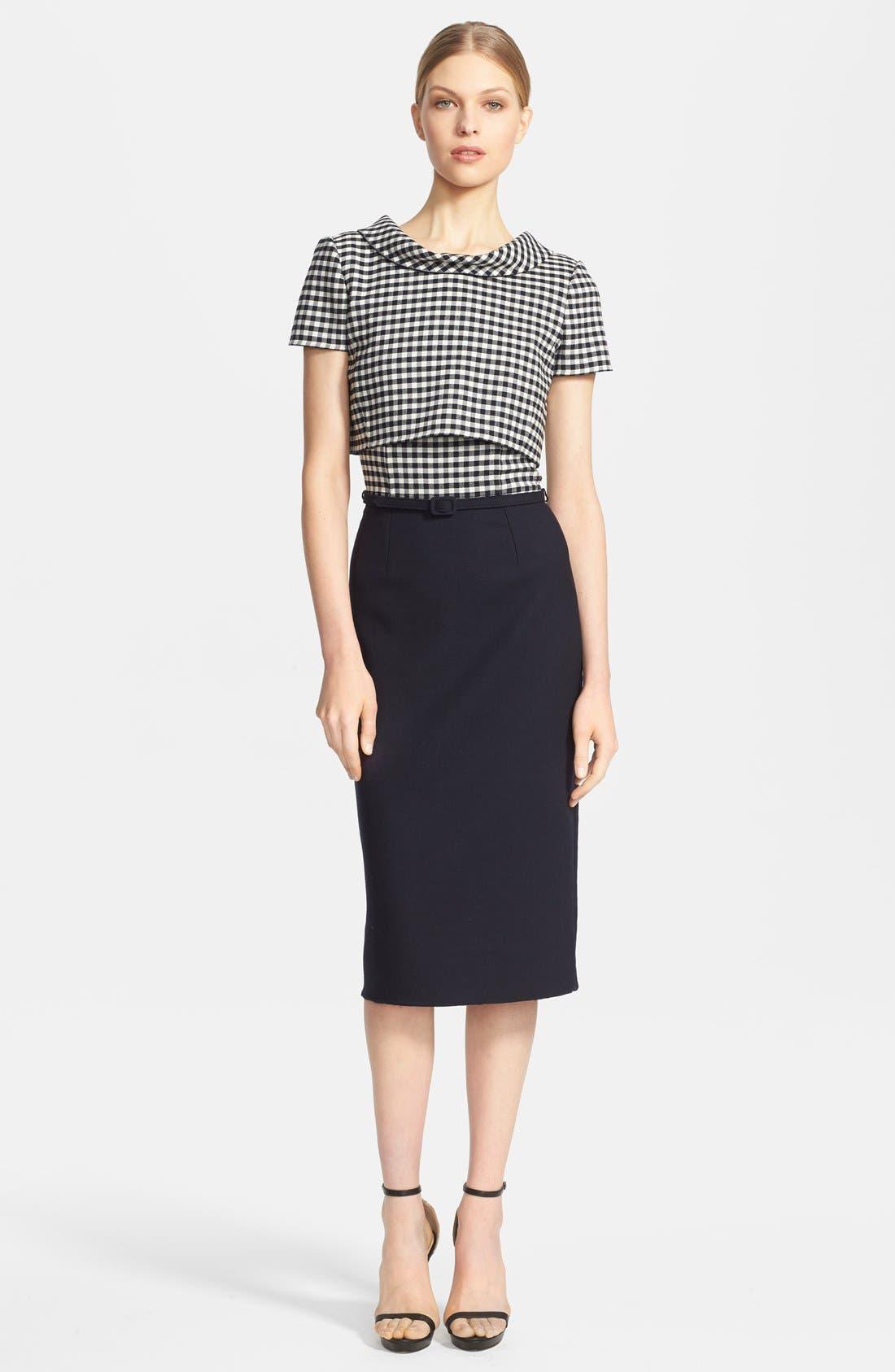 Main Image - Oscar de la Renta Stretch Wool Pencil Dress