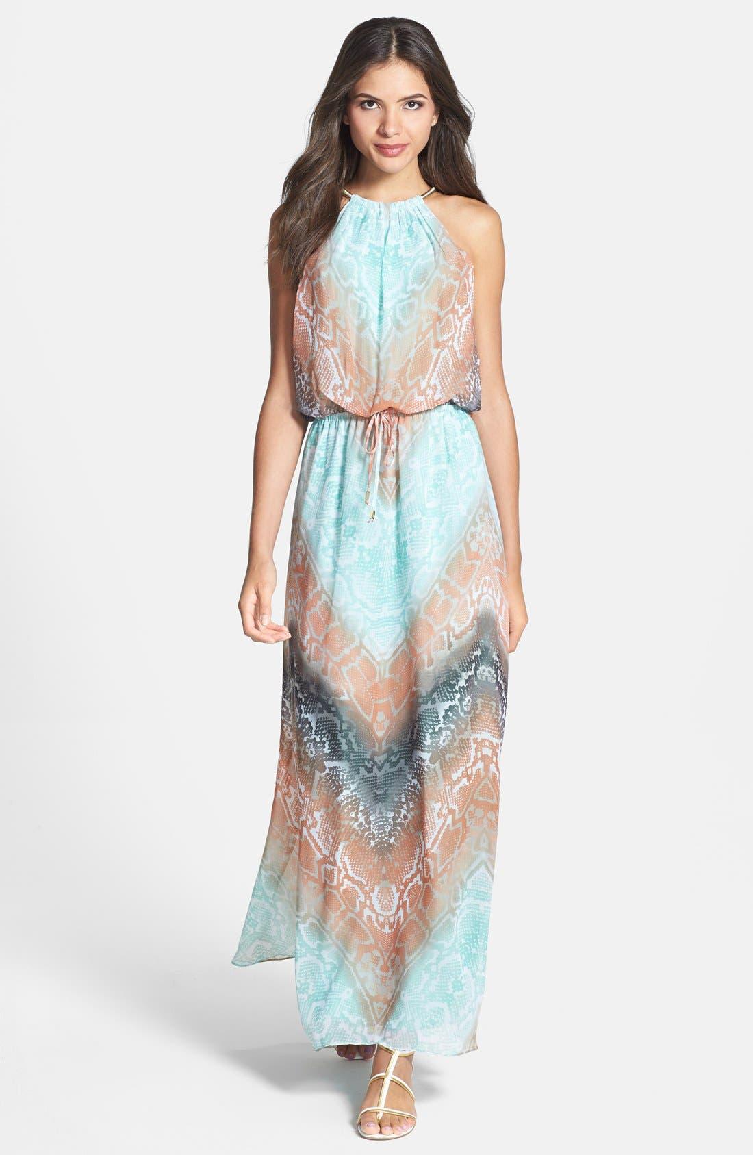 Alternate Image 1 Selected - Vince Camuto Print Chiffon Blouson Maxi Dress