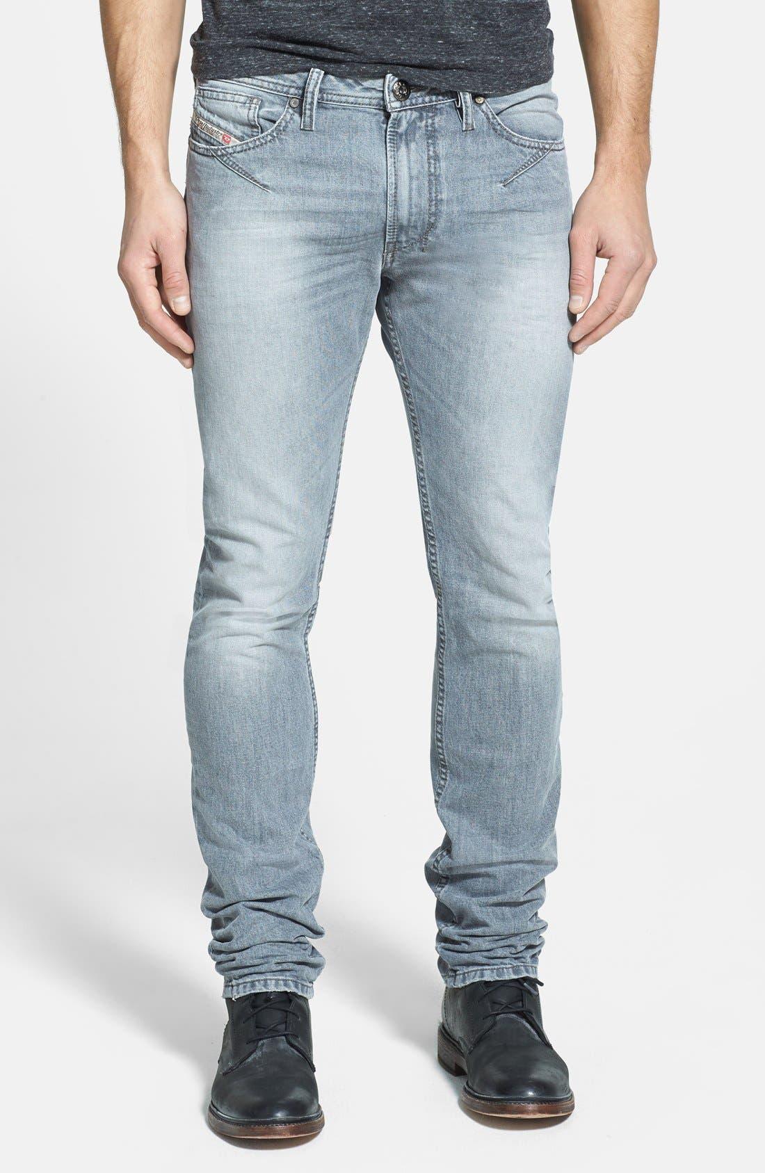 Alternate Image 1 Selected - DIESEL® 'Shioner' Skinny Fit Jeans (Black)
