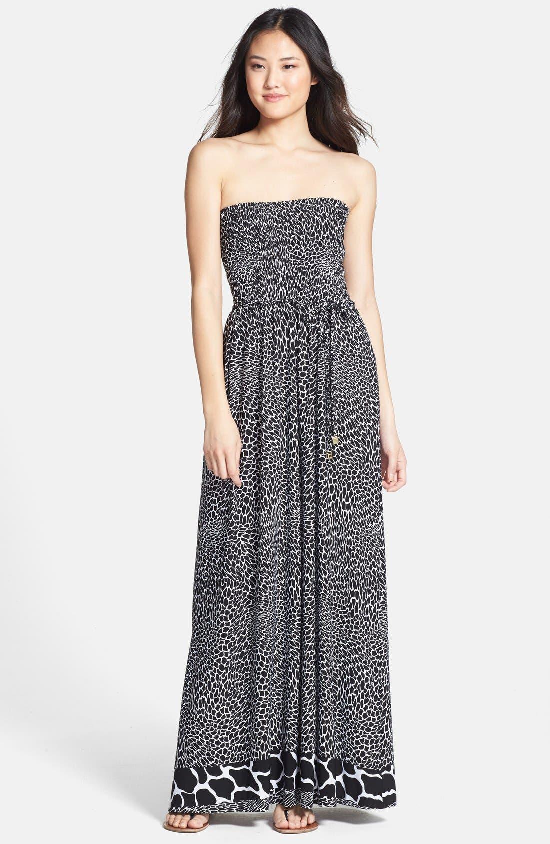 Main Image - Anne Klein Animal Print Strapless Maxi Dress