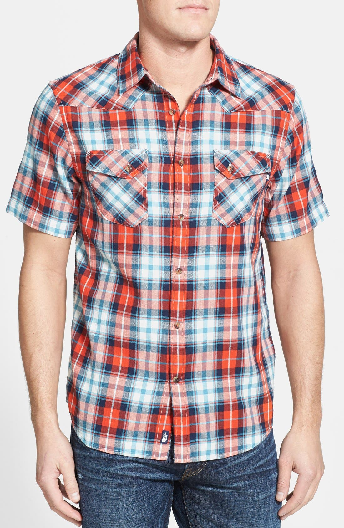 Alternate Image 1 Selected - The North Face 'Marzo' Slim Fit Short Sleeve Plaid Sport Shirt