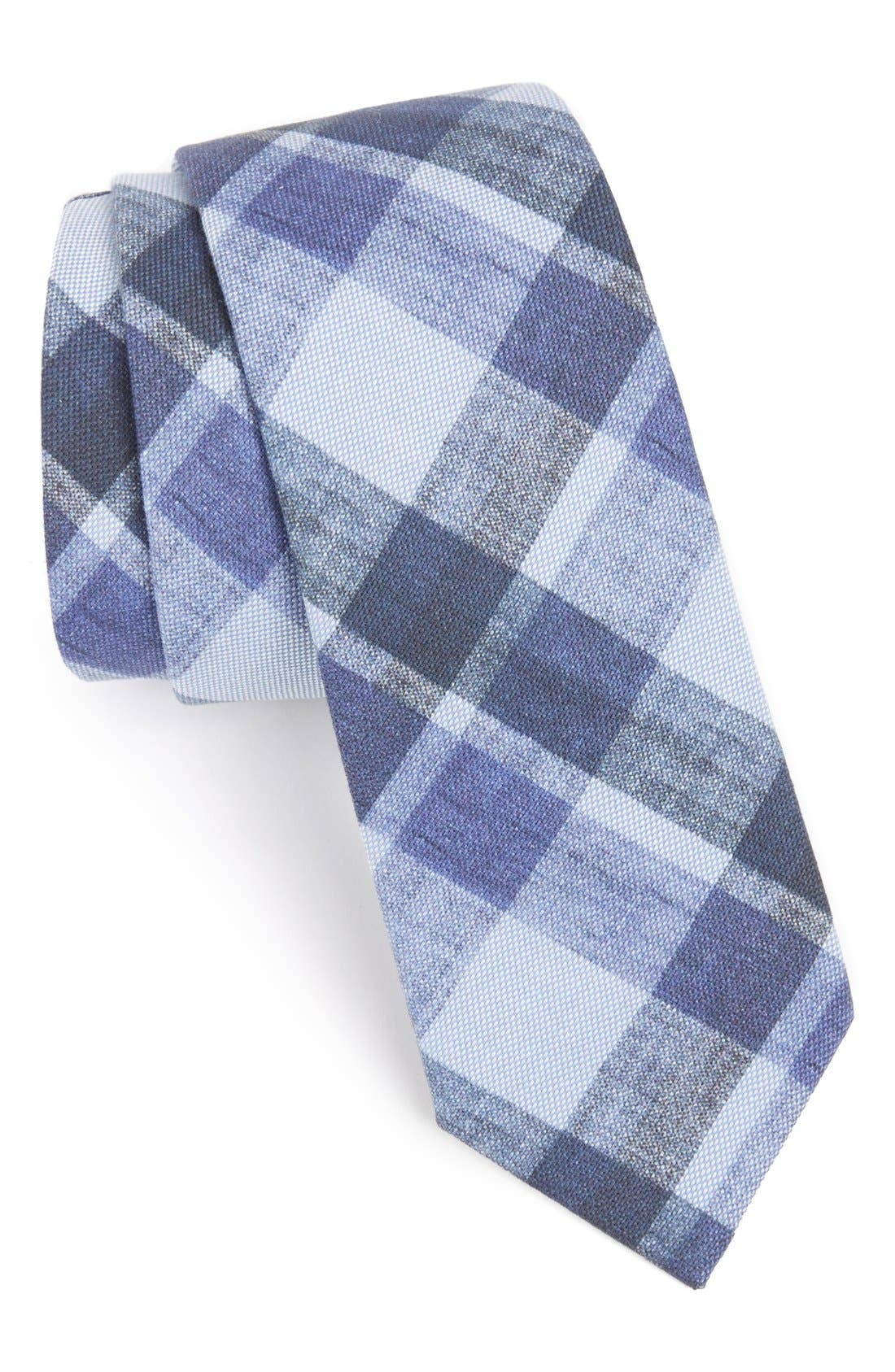 Main Image - Gitman Blue Plaid Denim Tie