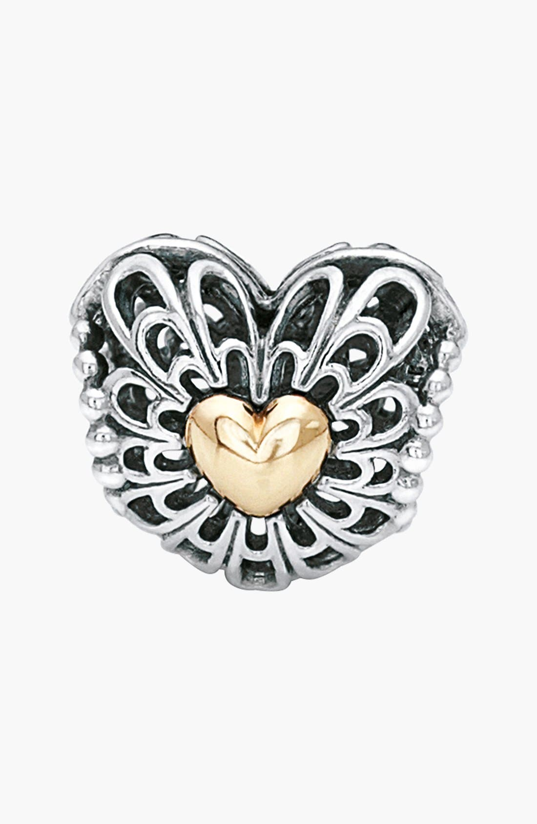 Alternate Image 1 Selected - PANDORA 'Vintage Heart' Two-Tone Bead Charm