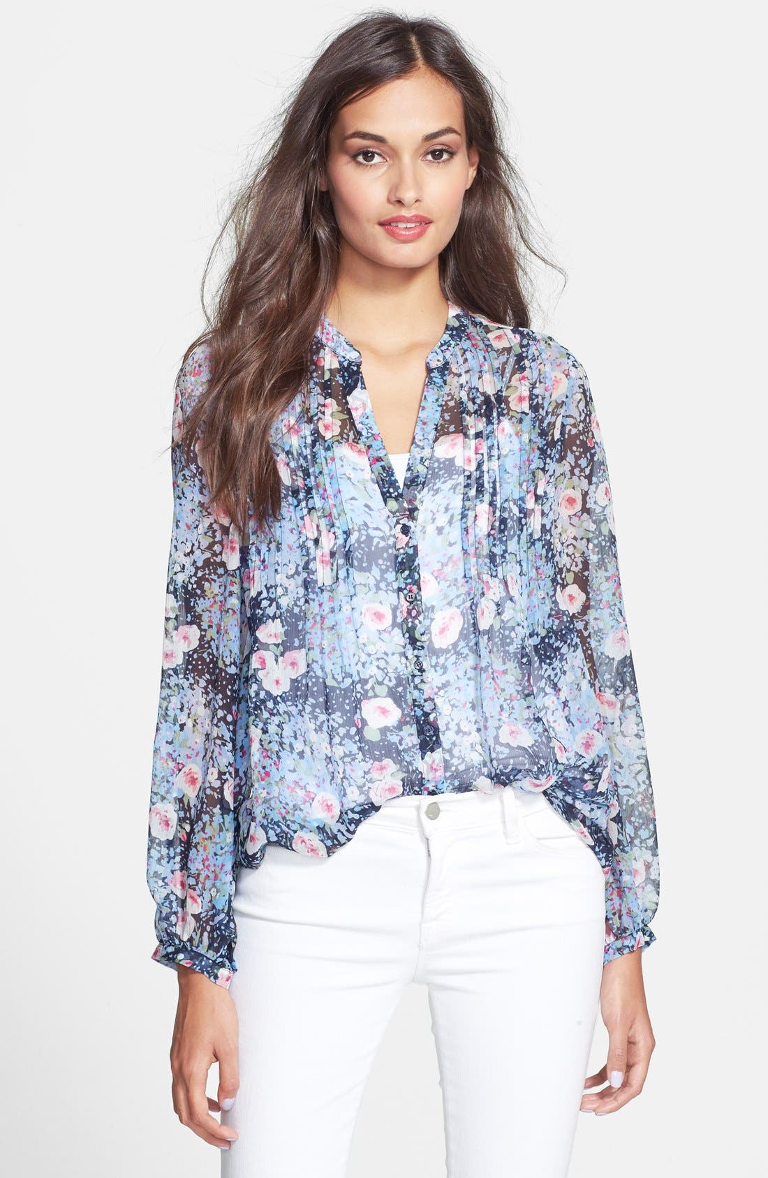 Alternate Image 1 Selected - Joie 'Martine C' Split Neck Silk Blouse