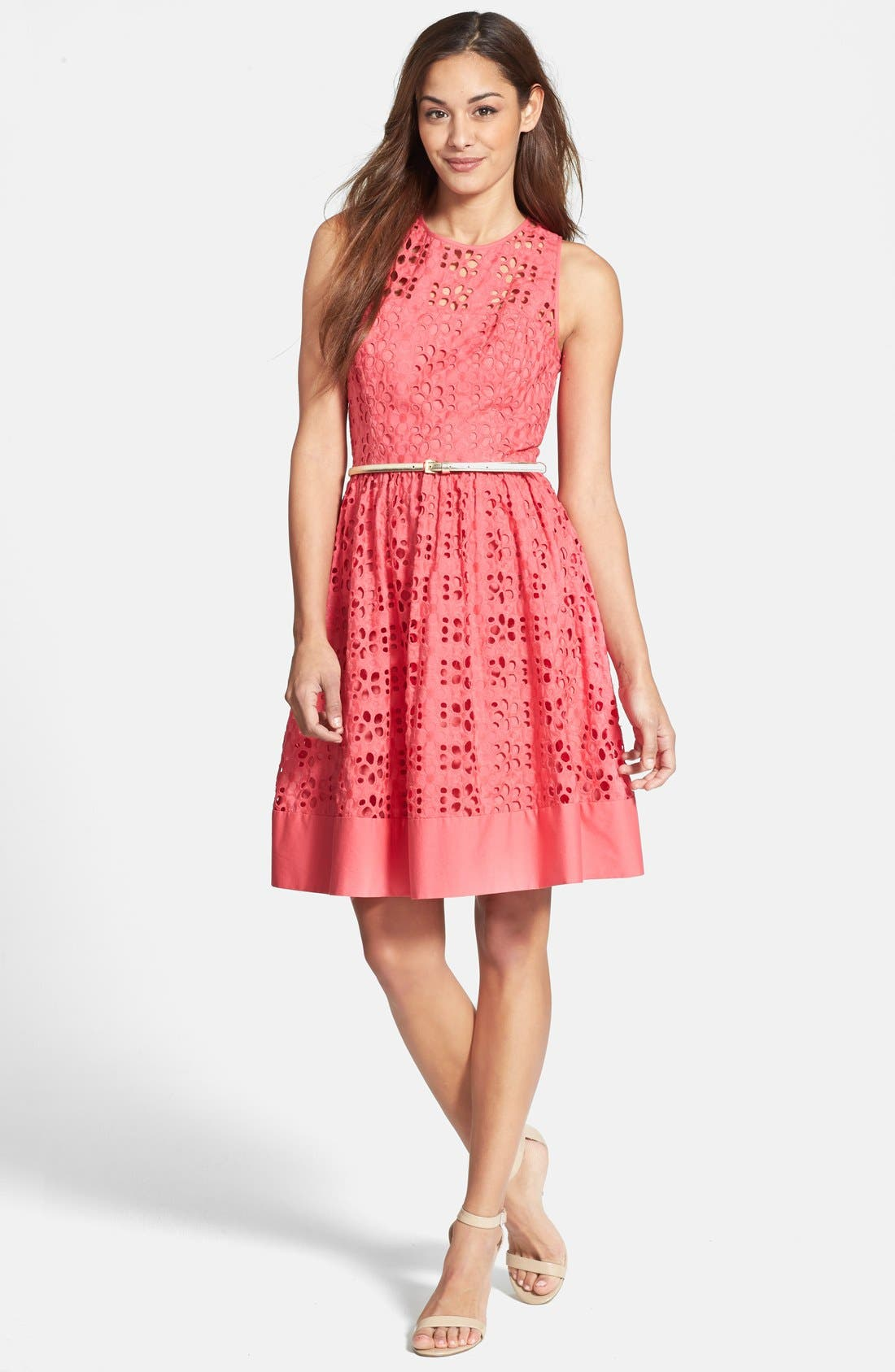 Alternate Image 2  - Eliza J Cotton Eyelet Belted Fit & Flare Dress (Regular & Petite)