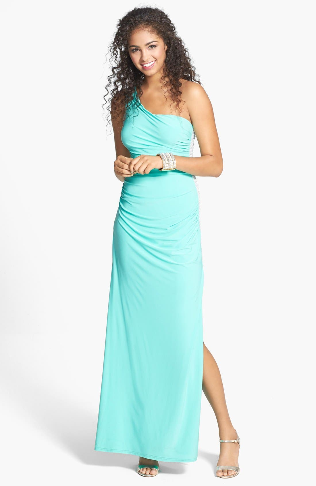 Main Image - Hailey Logan Embellished One-Shoulder Gown (Juniors)