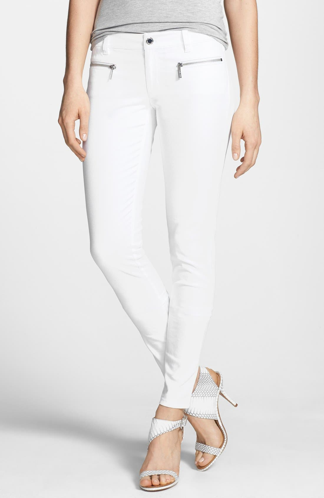 Alternate Image 1 Selected - MICHAEL Michael Kors Zip Detail Skinny Jeans (Regular & Petite)