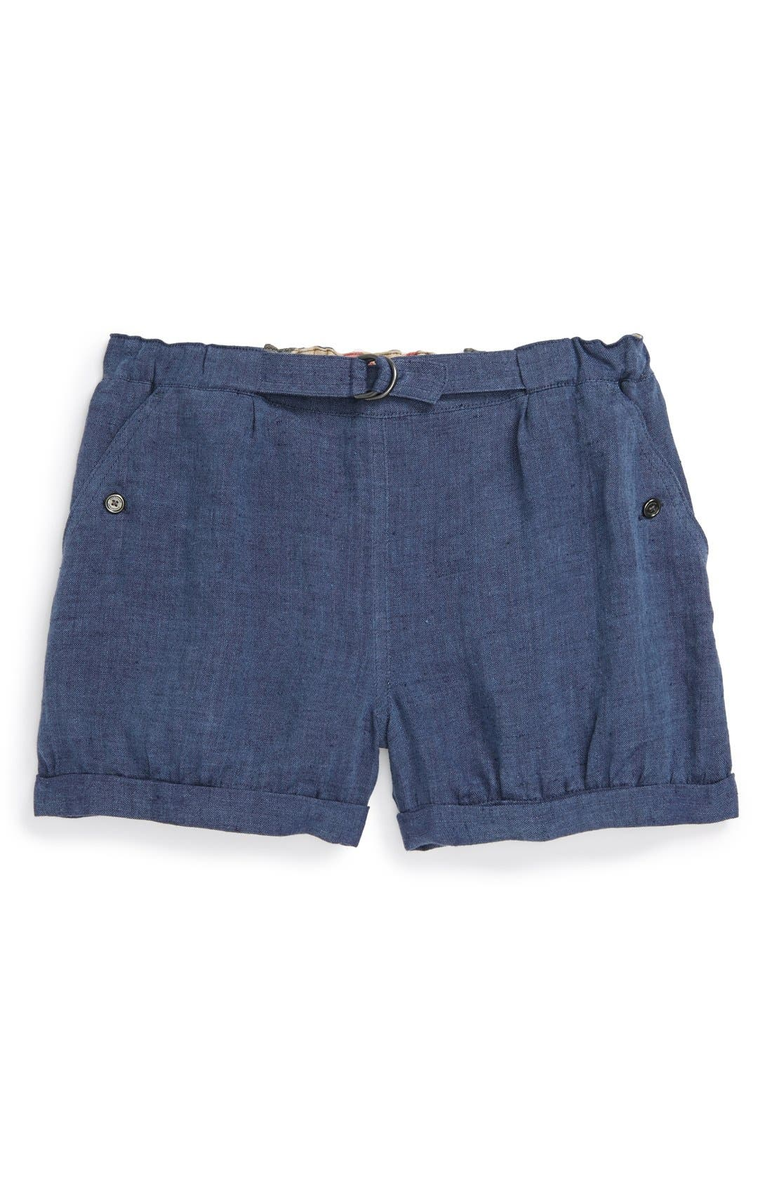Alternate Image 1 Selected - Burberry 'Lynne' Belted Linen Shorts (Little Girls & Big Girls)