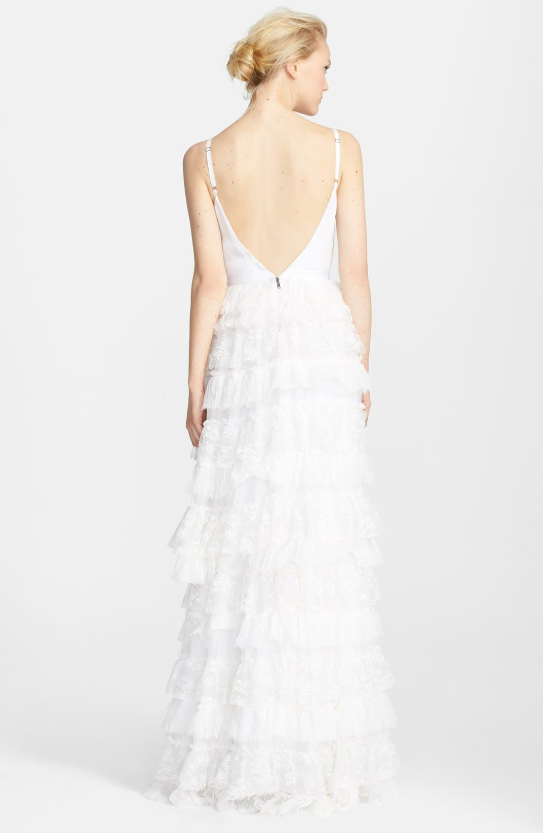 Alternate Image 2  - Alice + Olivia Ruffle Tiered Lace Gown