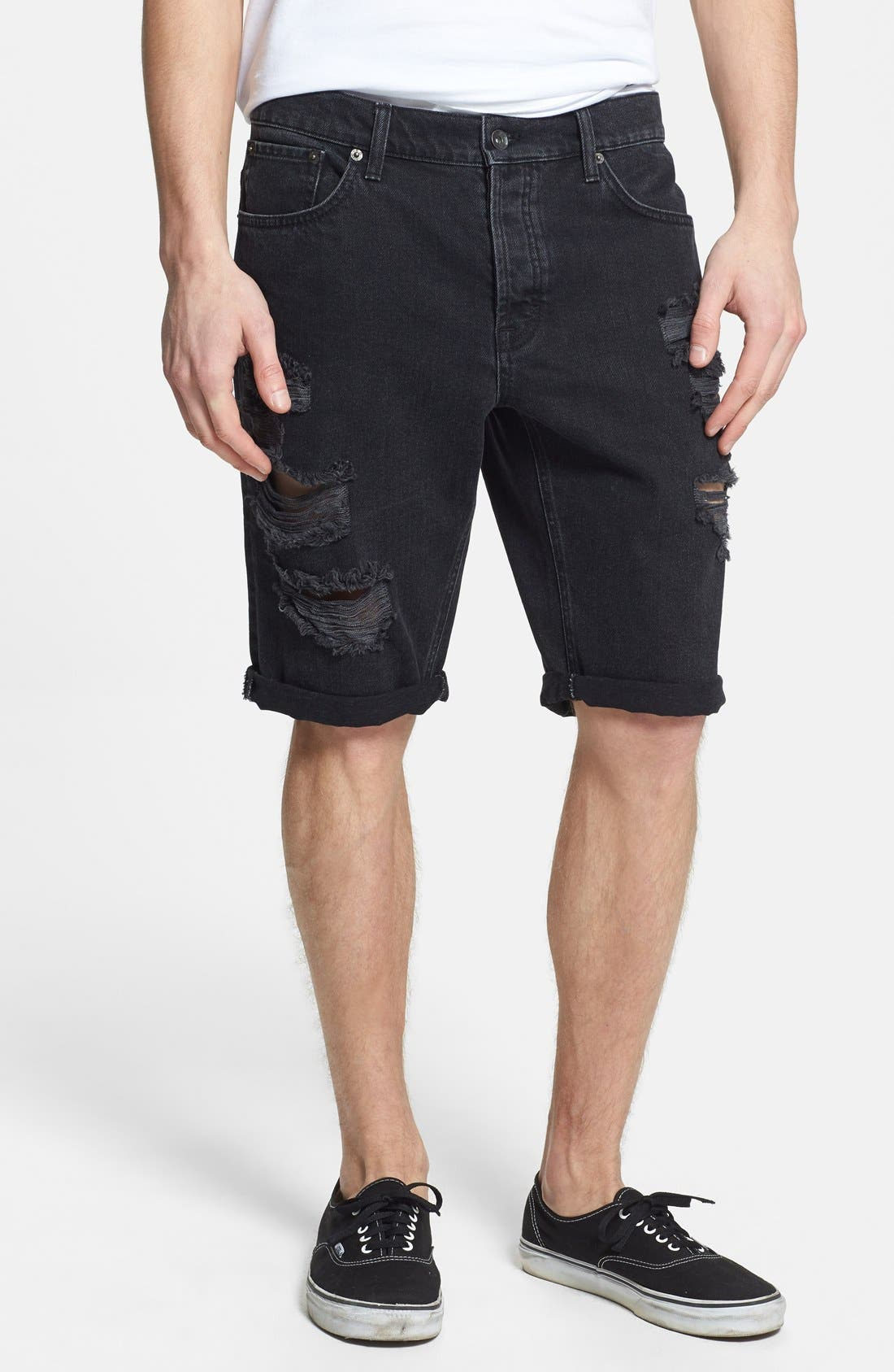 Main Image - Topman Skinny Fit Destroyed Black Denim Shorts