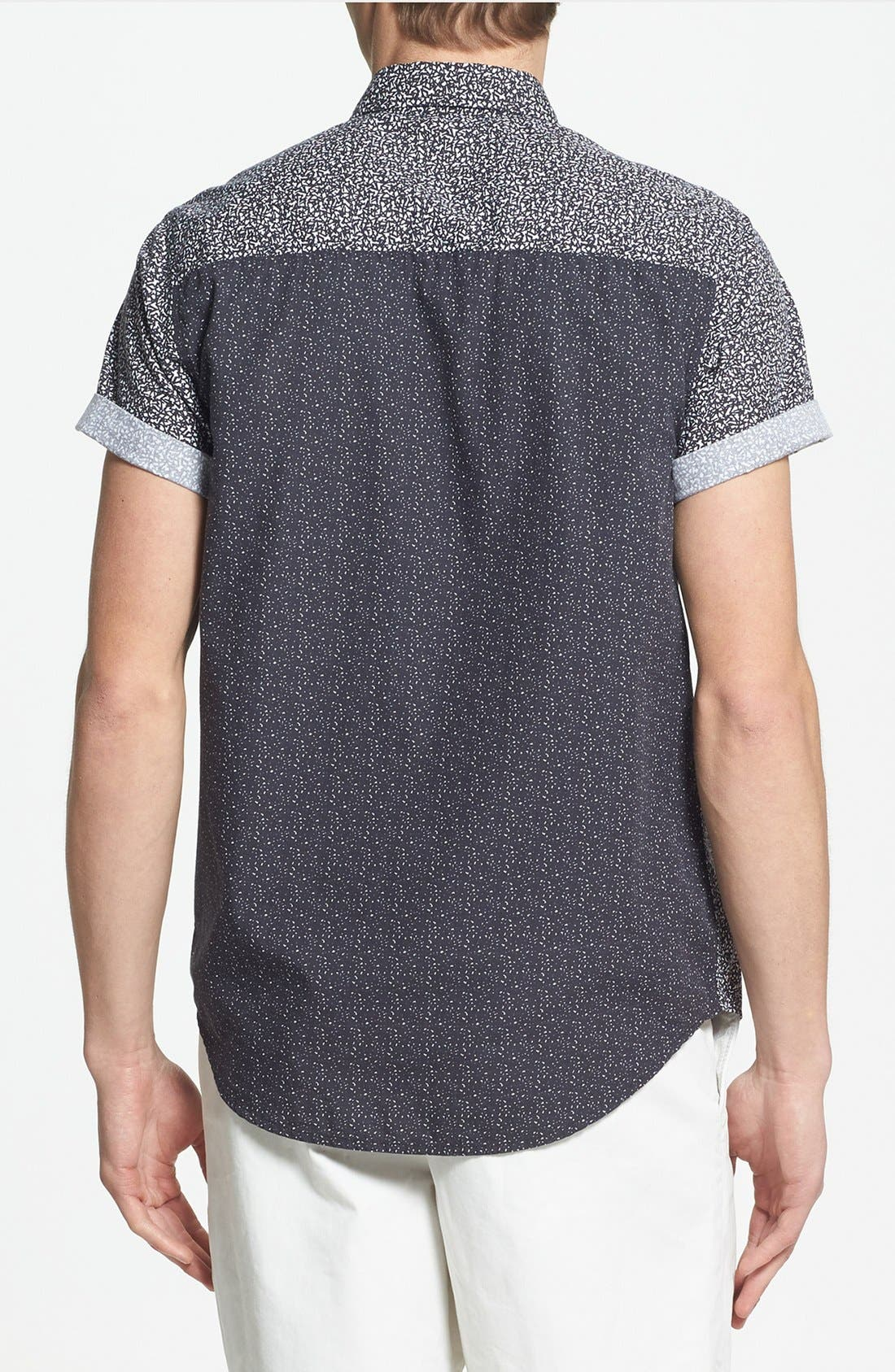 Alternate Image 2  - Topman Classic Fit Short Sleeve Mixed Panel Shirt