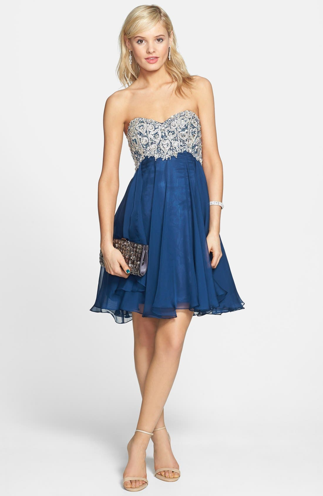 Alternate Image 1 Selected - Sherri Hill Embellished Chiffon Fit & Flare Dress