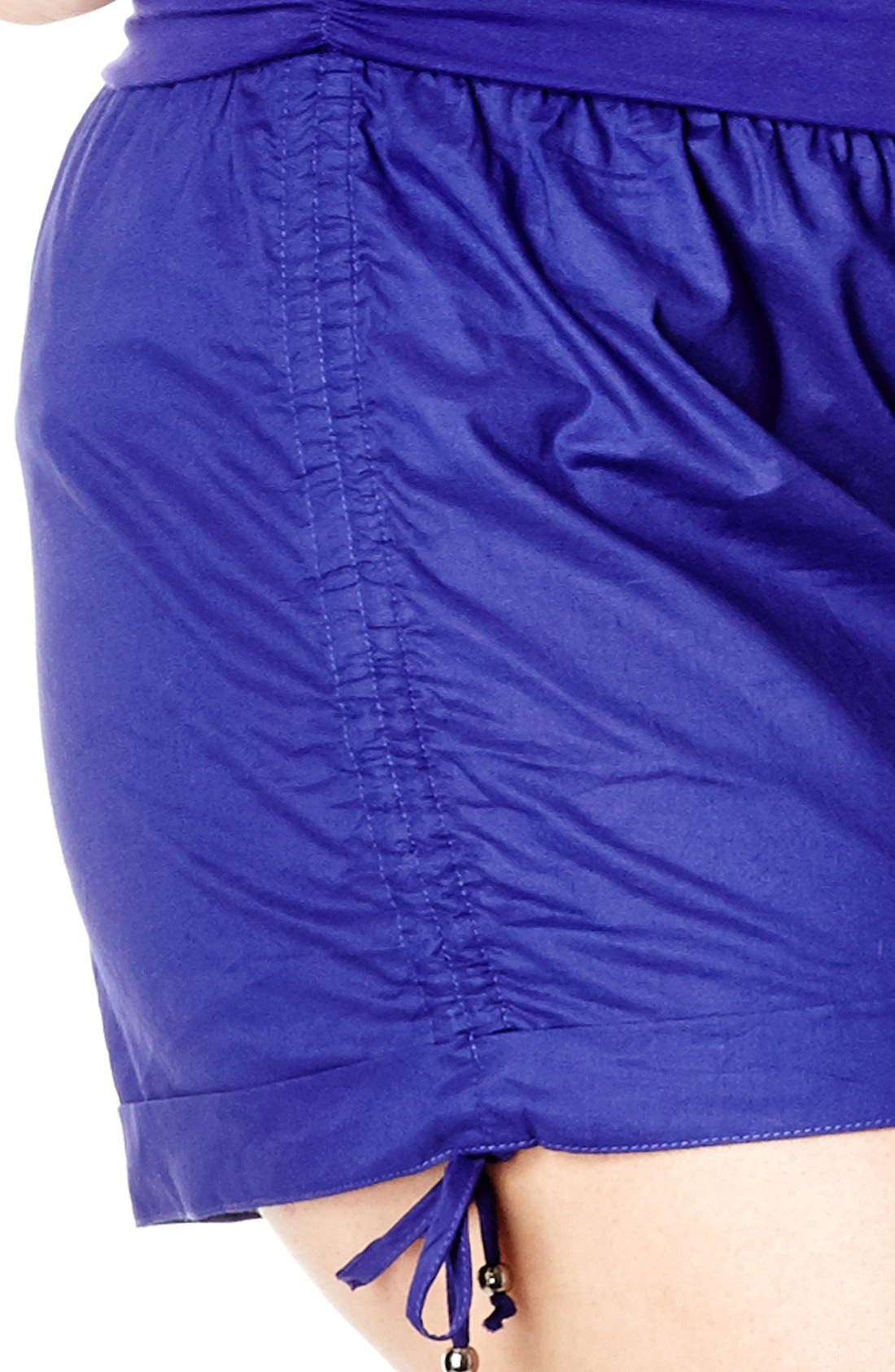 Alternate Image 3  - City Chic Roll Waist Ruched Shorts (Plus Size)